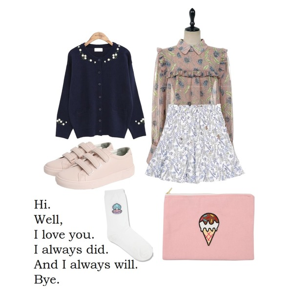 common unique [OUTER] FLOWER ROUND KNIT CARDIGAN,UPTOWN HOLIC 버베나 bl (*2color),GIRLS RULE 토토나리 스커트 (sk604)등을 매치한 코디