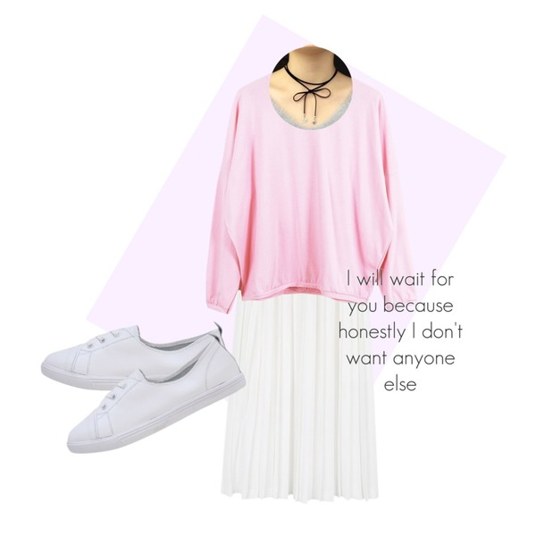 Magenta ,daily monday Piano long pleats skirt,LOOK CHIC box mtm tee (6 color)등을 매치한 코디