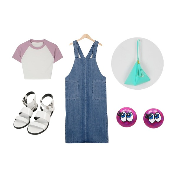 MINIBBONG 벡커-sh,From Beginning Margaret denim overall ops_S (size : free),MIXXMIX 샤이 레글런 크롭 티셔츠등을 매치한 코디
