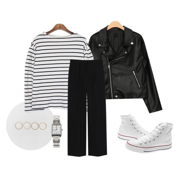 daily monday Simple basic ring set.04,AIN casual mood daily rider jacket,MESMIN 셔링 스트라이프 t (2colors)등을 매치한 코디