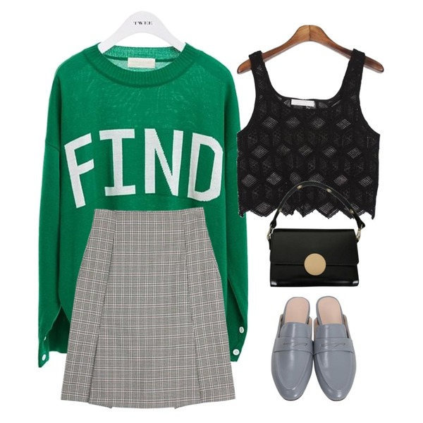 TWEE Find color knit,From Beginning First penny bloafer_S (size : 230,235,240,245,250),MESMIN 다이아 뷔스티에 (2colors)등을 매치한 코디