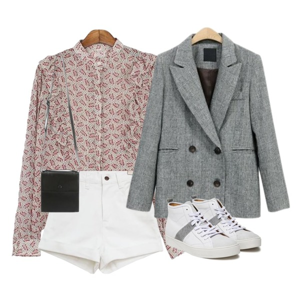 NEW NEED NOW 마랑 체크 더블 자켓,common unique [BOTTOM] COTTON ROLL UP HIGH SHORTS,MESMIN 히피 러플 bl (2colors)등을 매치한 코디