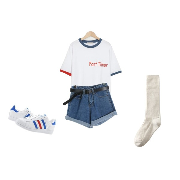 From Beginning Part time cotton T_M (size : free),Player 아디다스 슈퍼스타 화이트블루레드 (ADIDAS SUPERSTAR),ROCOSIX belt set rollup denim등을 매치한 코디