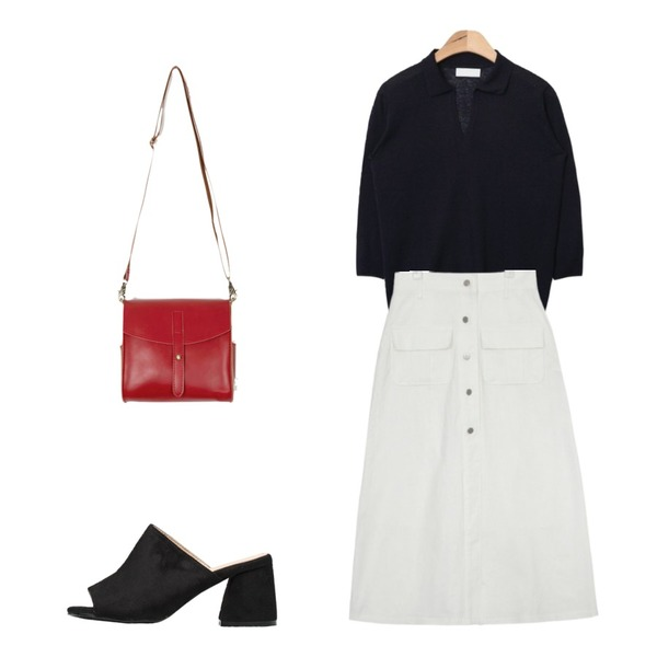 NEW NEED NOW 원데이 스웨이드 뮬 슬리퍼(7color),AIN flare open long skirt (2 colors),AIN open collar knit (4 colors)등을 매치한 코디