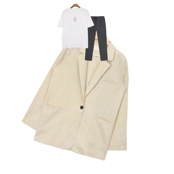 IHRER SHAPE Modern Slacks GRAY,AIN one button casual linen jacket (4 colors),MESMIN 레트로 프린트 t (2color)등을 매치한 코디
