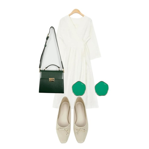 From Beginning Classy buckle angle bag_M (size : one),UPTOWN HOLIC 타멜리 shoes (*7color),AIN V-neck wrap linen ops (2 colors)등을 매치한 코디