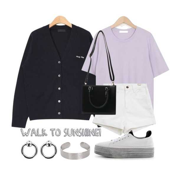 AIN hug me embroidery cardigan (6 colors),From Beginning Plus cotton basic T_M (size : free),common unique [BOTTOM] COTTON ROLL UP HIGH SHORTS등을 매치한 코디