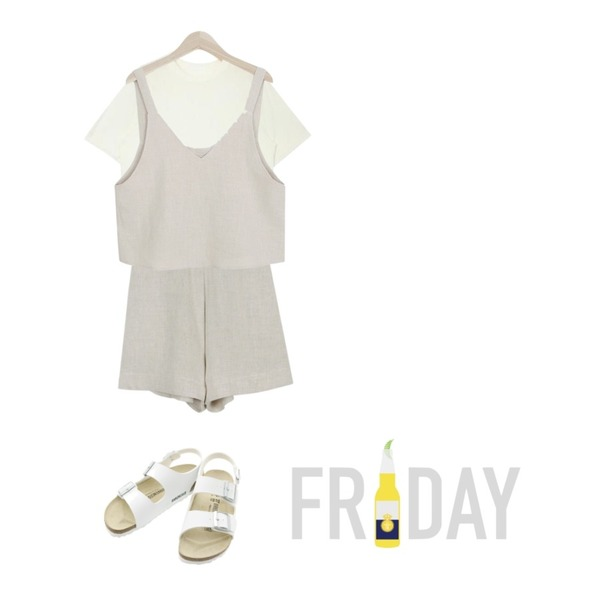 daily monday High-waist linen short pants,myblin 핏이정말 예쁜 fall 뷔스티에,AIN summer wearable casual T (5 colors)등을 매치한 코디