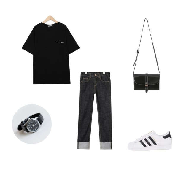 daily monday Casio black frame watch,AIN deep color slim denim pants (2 colors),From Beginning Write walk lettering T_K(size : free)등을 매치한 코디