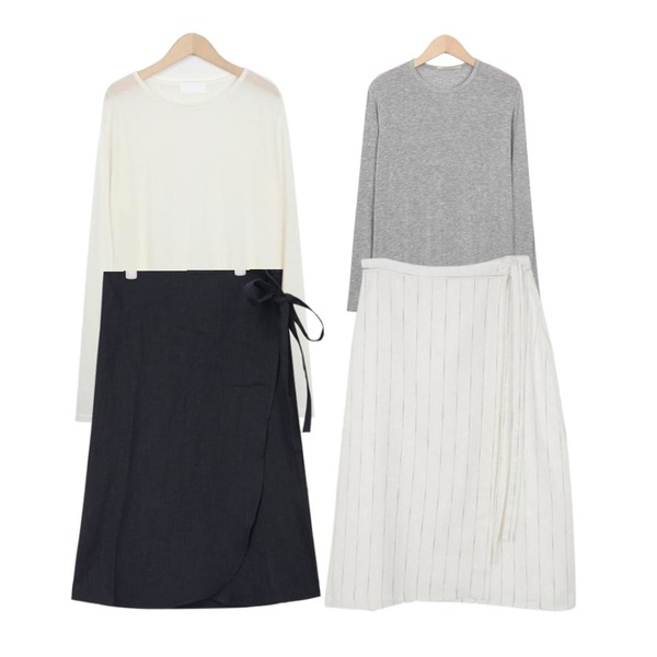 AIN modern linen wrap skirts (3 colors),From Beginning Between sheer loose T_K(size : free) ,From Beginning And silket slim T_H (size : free)등을 매치한 코디
