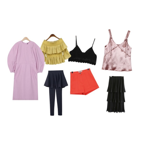biznshoe Satin bustier (3color),From Beginning Glow knit bustier_H (size : free),ROCOSIX kankan frill blouse등을 매치한 코디