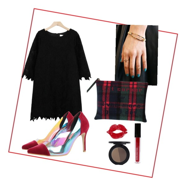 Red Frame,biznshoe Check clutch,daily monday Star 2set Ring (3colors)등을 매치한 코디