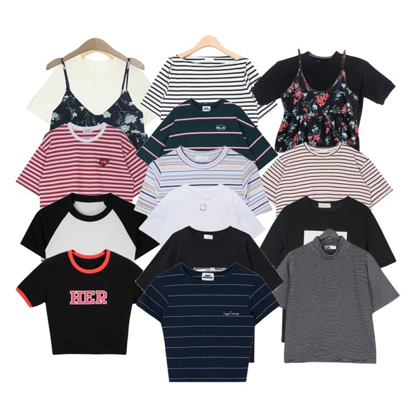 AIN french stripe off shoulder T (2 colors),TODAY ME 론지 뷔스티에,AIN summer wearable casual T (5 colors)등을 매치한 코디