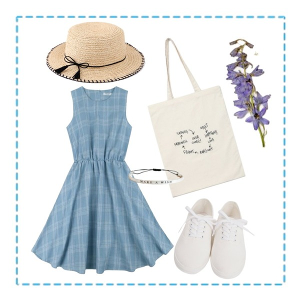 Untitled,From Beginning Stitch cotton sneakers_H (size : 230,235,240,245,250),IHRER SHAPE Check Banding Flare Sleeveless OPSLight Blue등을 매치한 코디