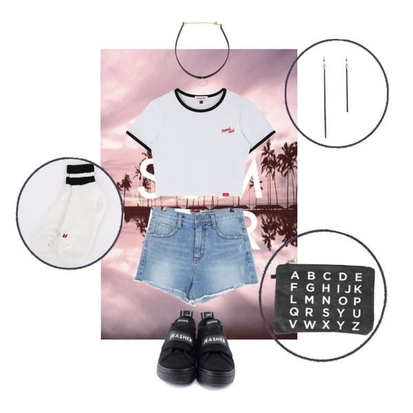 summer,MIXXMIX Heart Ringer Crop Top,UPTOWN HOLIC 젬마 pants등을 매치한 코디