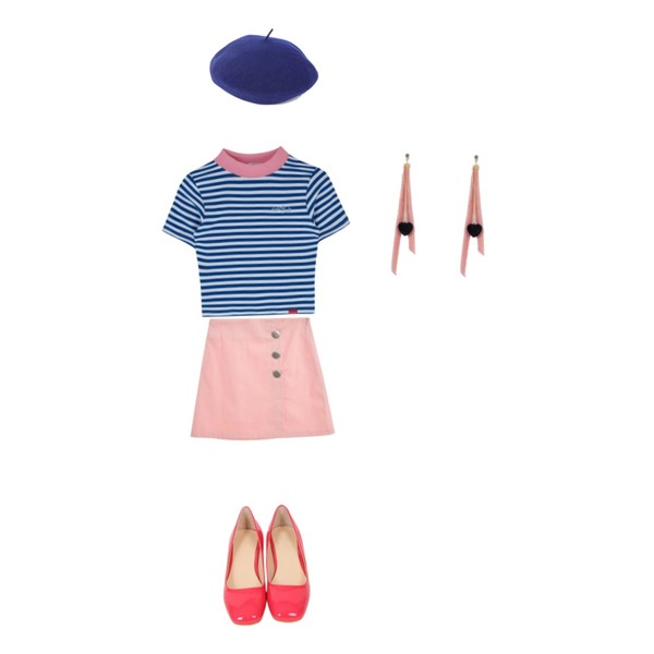 BANHALA 러브러브 베레모,TWEE Button A-line skirt,MIXXMIX Heart Stripe High Neck Top등을 매치한 코디