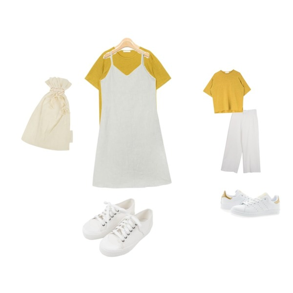 AIN daily wearable linen T (8 colors),MESMIN 스프링 와이드 sl (4colors),AIN flare linen sleeveless ops (2 colors)등을 매치한 코디