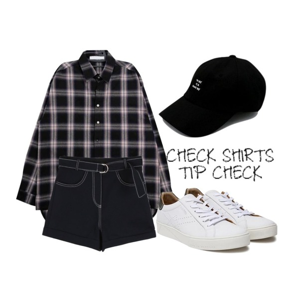 daily monday Roll up color short pants,HATISS Broome Rebecca White sneakers,GIRLS RULE 박스 체크 남방 (nb239)등을 매치한 코디
