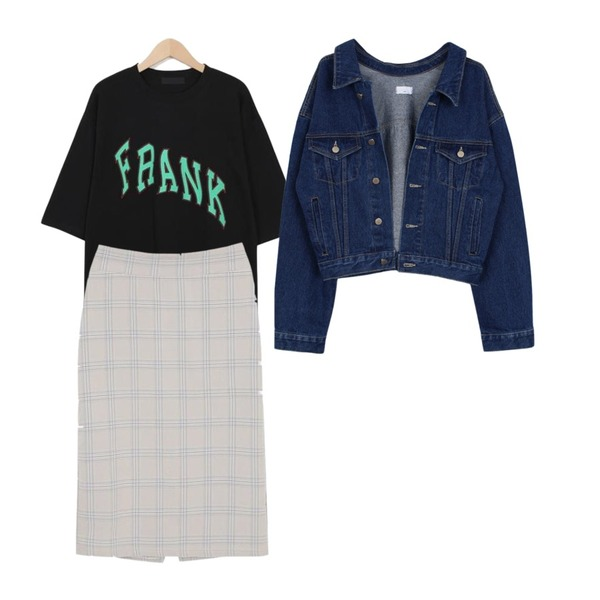 biznshoe Denim short jacket,myblin 글렌 체크 밴딩 미디 스커트,From Beginning Frank vintage cotton T_H (size : free)등을 매치한 코디