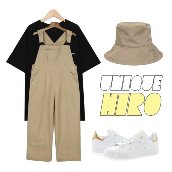 AIN wide bucket hat (4 colors),daily monday Casual cotton overalls,From Beginning Write walk lettering T_K(size : free)등을 매치한 코디