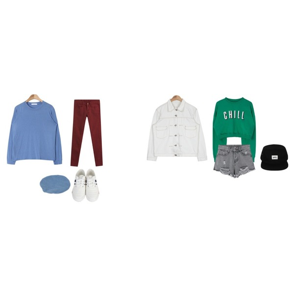 TODAY ME [skinny]톰 컬러 스키니진,SOMEDAYS 리프단화(2color),AIN layered long sleeve T (5 colors)등을 매치한 코디