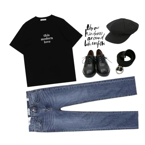 daily monday Basic line loafer,AIN SHALOM straight ver.2,biznshoe Modern love tee (5color)등을 매치한 코디