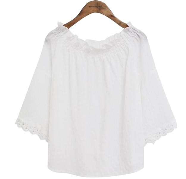 SHIRRING BAND OFF SHOULDER BLOUSE