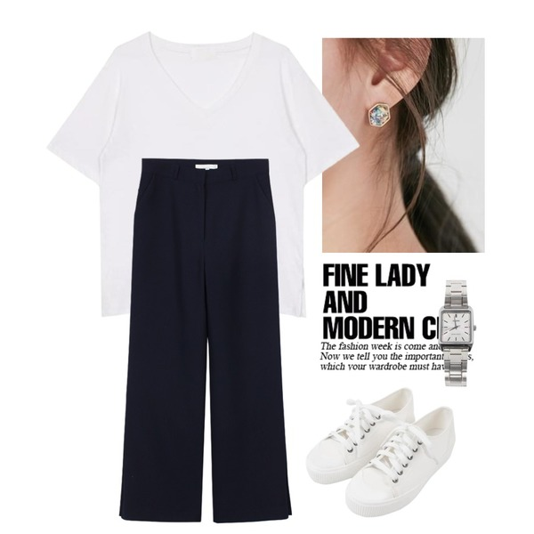 Untitled,From Beginning Star piece earring_M (size : one),biznshoe V neck tee (3color)등을 매치한 코디