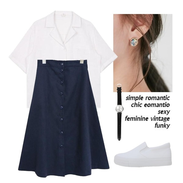 Untitled,From Beginning Star piece earring_M (size : one),biznshoe Half collar shirt (6color)등을 매치한 코디