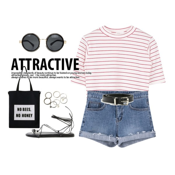 MIND ME BEES (3color) [Bag] [크로스백,에코백,에코크로스백],biznshoe Stripe crop tee (4color),AIN 'JEJU' round gold line sunglass (2 colors)등을 매치한 코디