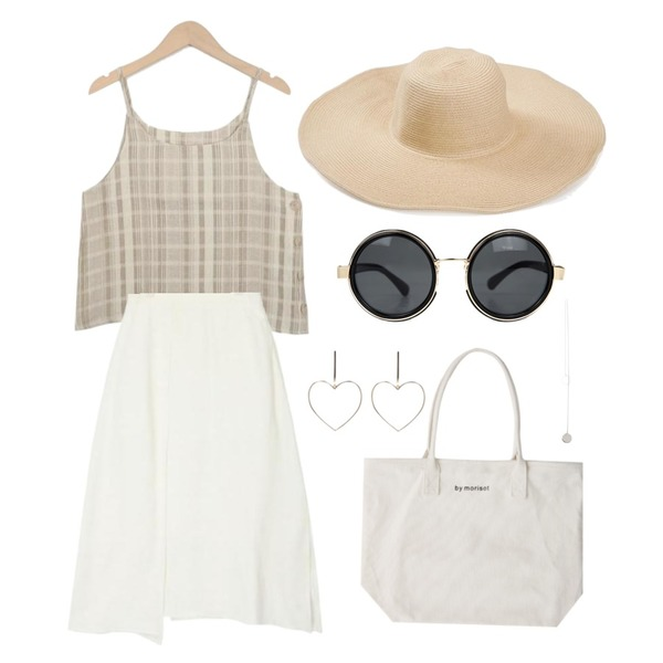 From Beginning Stay check sleeveless top_H (size : free),TWEE Wide raffia hat,AIN unblance slit detail skirt (2 colors)등을 매치한 코디