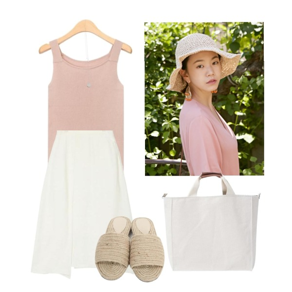 From Beginning Straw panama hat_B (size : one),AIN wide neckline golgi sleeveless (3 colors),AIN unblance slit detail skirt (2 colors)등을 매치한 코디