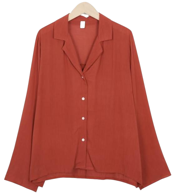 Pleats open collar blouse_M (size : free)