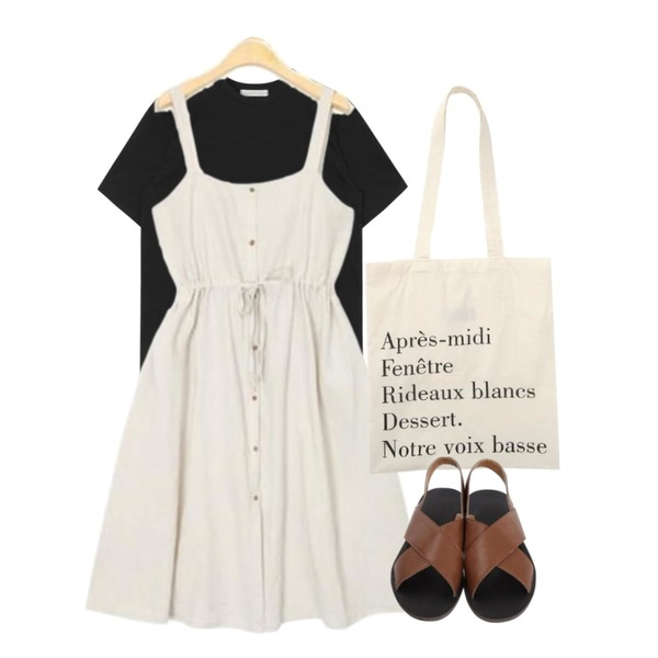 AIN waist shirring linen long ops (3 colors),From Beginning Made_acc-009_french cotton bag (size : one),AIN basic tiny round T (4 colors)등을 매치한 코디