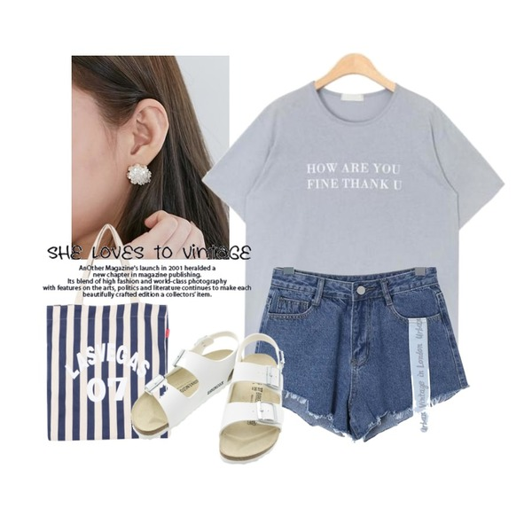From Beginning Ophelia floret earring_K(size : one),ROCOSIX kyo short pants,AIN thank you typo T (4 colors)등을 매치한 코디