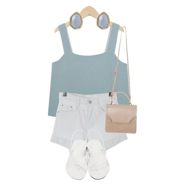 From Beginning Bloom mini tote bag_K(size : one),ROCOSIX code rollup short pants,From Beginning Lime linen sleeveless top_S (size : free)등을 매치한 코디