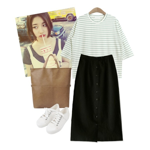 -,TODAY ME [tee]쇼미 단가라티,common unique [SKIRT] BUTTON LINEN MIDI SKIRT등을 매치한 코디