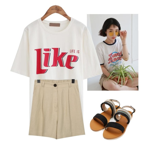 common unique [TOP] LIKE LETTERING 1/2 T,From Beginning Bell linen banding shorts_K(size : free),daily monday David linen tee등을 매치한 코디
