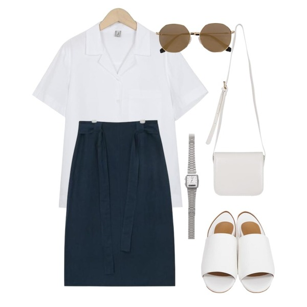 From Beginning Comport sling-back sandal_S (size : 230,235,240,245,250),AIN thick strap rami midi skirt (2 colors),From Beginning Made_top-175_paper collar shirts (size : free)등을 매치한 코디
