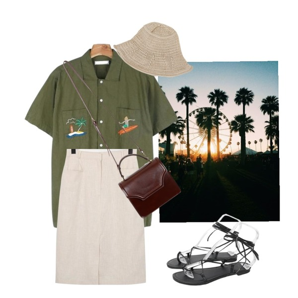 themepark,From Beginning Present linen skirt_S (size : S,M),daily monday Surfing needlepoint shirts등을 매치한 코디