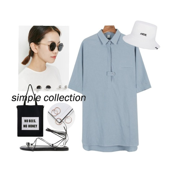 daily monday Simple basic ring set.01,From Beginning Bow frame sunglass_P (size : one),daily monday Linen shirts one-piece등을 매치한 코디