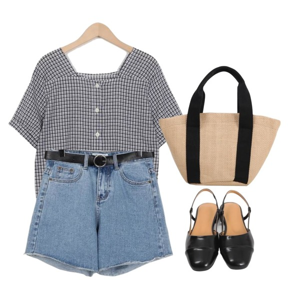 From Beginning Active belt denim shorts_S (size : S,M),From Beginning Candy check square blouse_H (size : free),From Beginning Minimal sling-back shoes_H (size : 230,235,240,245,250)등을 매치한 코디