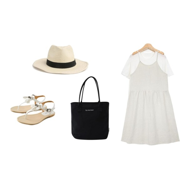 ROCOSIX ace summer hat,AIN vintage strap linen ops,From Beginning Dye soft round T_S (size : free)등을 매치한 코디