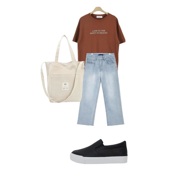 LOVELY SHOES 러브플랜 양밴딩 슬립온  3.5cm,AIN by me straight fit denim pants,LOOK CHIC heaven tee (3 color)등을 매치한 코디