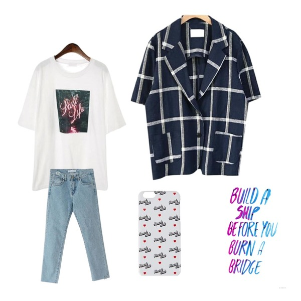 DOOMARKET 2color 린넨 체크 자켓,BANHARU left two ring straight jean,ROCOSIX neon printing t-shirts등을 매치한 코디