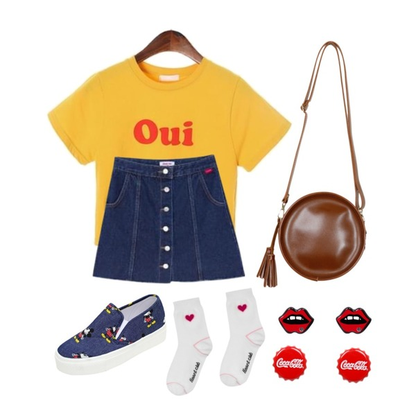 LOVELY SHOES [정품]달핀 미키마우스 슬립온 (3.5cm),MIXXMIX Heart damage button skirt,ROCOSIX oui crop t-shirts등을 매치한 코디