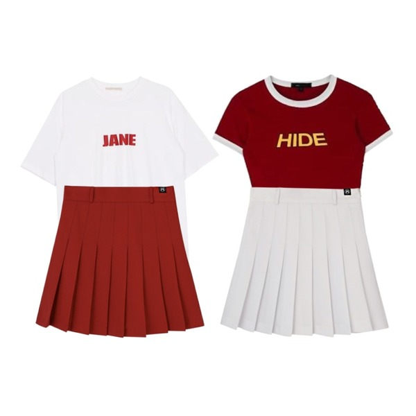 MIXXMIX HIDE Beltring Tennis Skirt Pants,MIXXMIX HIDE Logo Color Crop Top,biznshoe Lettering round tee (2color)등을 매치한 코디