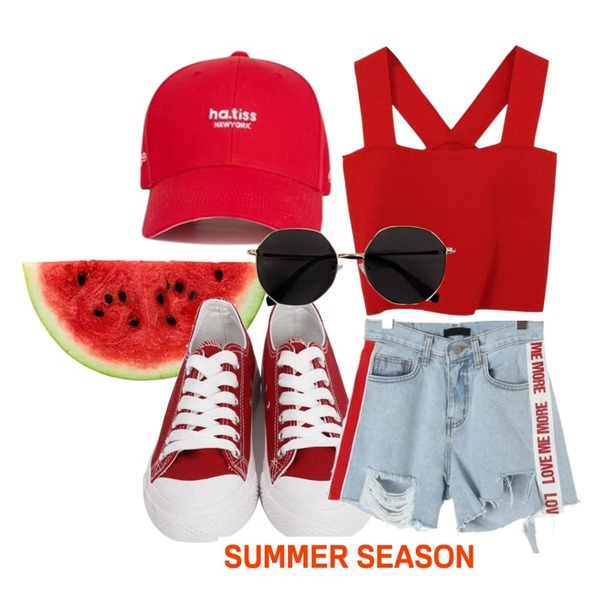 watermelon,From Beginning Purcell cotton sneakers_M (size : 230,235,240,245,250),ROCOSIX lovemore letterig short pants등을 매치한 코디