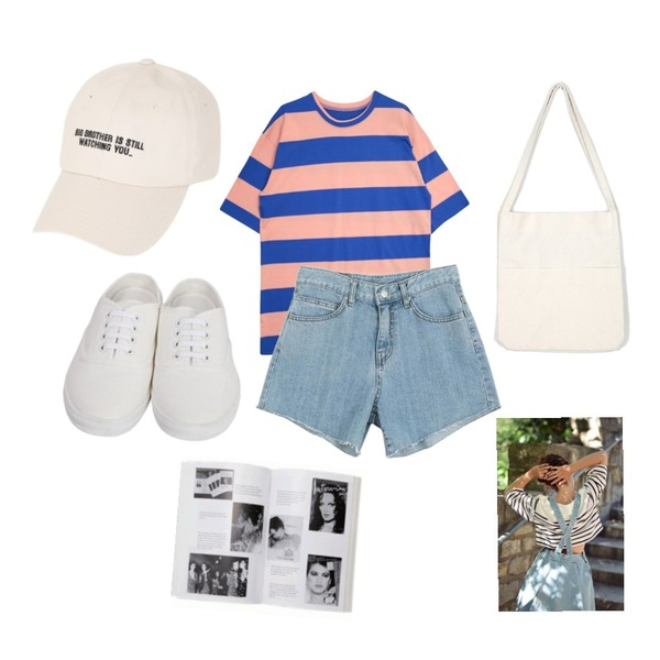 From Beginning Cotton sneakers mule_S (size : 225,230,235,240,245,250),GIRLS RULE 롤리팝 단가라 티셔츠 (t3208),LOOK CHIC boosy denim shorts (2 color)등을 매치한 코디