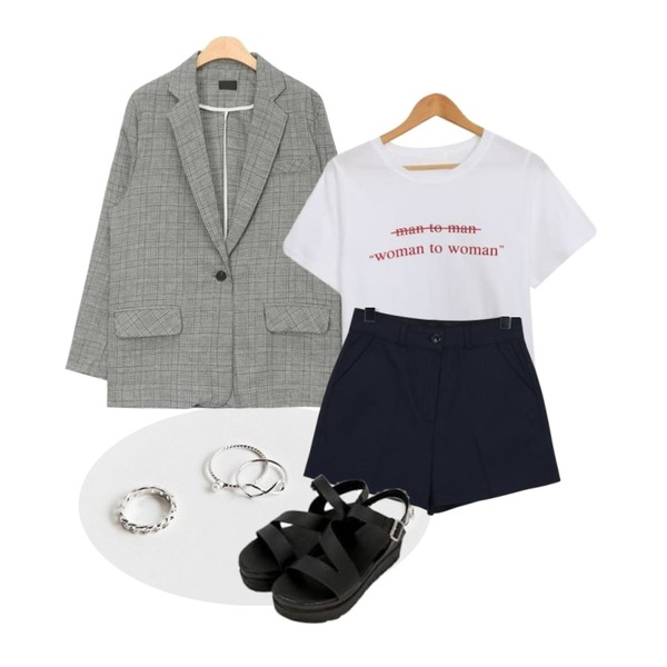 daily monday Point 4design ring set,AIN linen check single jacket (2 colors),AWAB 엠더블유라운드티등을 매치한 코디